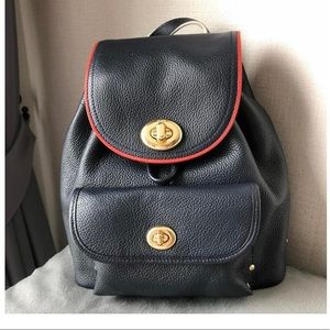 Coach Mini Rusksack Navy Leather Backpack